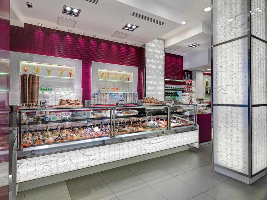 Gelato ice cream shop fitting majors group for Outlet online arredamento design